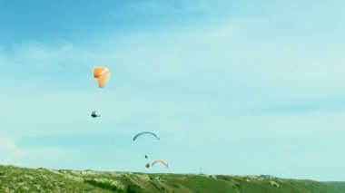 Several Paragliders Soaring In the Sky — Stock Video