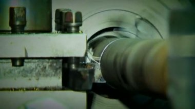Rotating Turning Lathe In Process. Archival record. — Stock Video