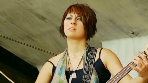 Young  Woman Playing Guitar — Vidéo