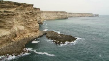 Beautiful Black Sea Coast Of Cape Tarkhankut in Crimea — Stock Video