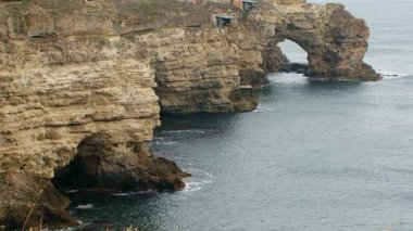 Picturesque Black Sea Coast Of Cape Tarkhankut in Crimea — Stock Video