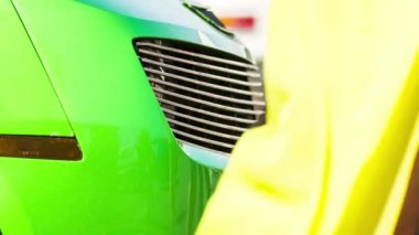 Bumper of Green Sportive Car At Exhibition — Stock Video