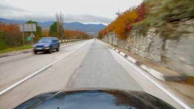 Passenger Vehicle Moving Along Asphalt Road With Scenics View — Stockvideo