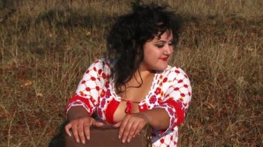 Cheerful Dark Haired Woman Having Fun At Nature — Stock Video