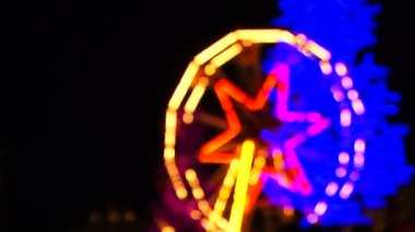 Bright Ferris Wheel With  Illumination Spinning At Night — Stock Video