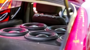 Car Speakers Diffusers Moving With Sound — Stock Video