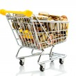 Shopping cart with coins — Stock Photo #58356321