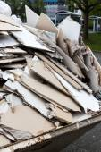Rubble. gypsum boards in the container — Stock Photo
