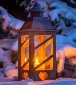 Lantern in the snow at christmas — Stock Photo