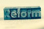 Reforma escrita en Letras de plomo — Foto de Stock