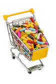 Tablets with shopping cart — Stock Photo