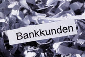 Shredded paper banking customers — Foto Stock