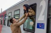 Arrival by train — Stock Photo