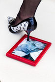 Picture frames and high heels — Stock Photo