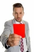 Menedżer z czerwoną kartkę — Zdjęcie stockowe