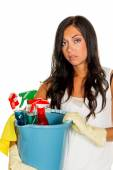 Clean housewife with stress during — Stock Photo