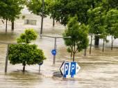 Flood in 2013, linz, austria — Stock Photo