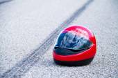 Accident with motorcycle. traffic accident with skid marks — Stock Photo