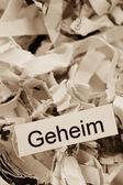 Shredded paper keyword secret — Stock Photo