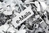 Shredded paper keyword e-mails — Stock Photo