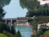 Hydroelectric power station on the river salzach — Stock Photo