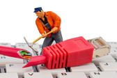 Workers, network connector, keyboard — Stock Photo