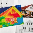 Save energy. house with thermal imaging camera — Stock Photo #59183543
