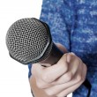 Woman holding microphone — Stock Photo #59184771