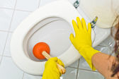 Clogged toilet is cleaned — Stock Photo