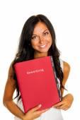Woman with application portfolio — Stock Photo