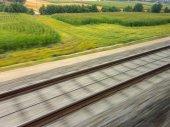 Rails of railroad. train — Stock Photo