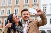 Selfie a couple — Stock Photo