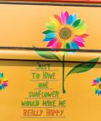 Painted colorful sun flower and lettering — Stock Photo