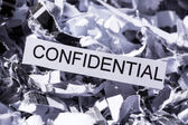 Shredded paper confidential — Stock Photo