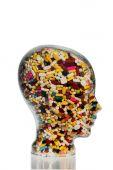 Kafası cam tabletler ile yaptım — Stok fotoğraf