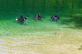 Diver in a lake — Stock Photo
