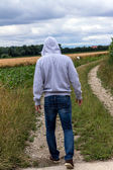 Man walking on path — Stock Photo