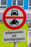 Prohibition sign for car and motorcycle — Stock Photo