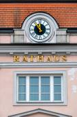 Clock at the town hall, — Stock Photo