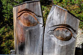 Carved eye tree trunk — Stock Photo