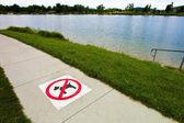 Sidewalk, dogs prohibited — Stock Photo