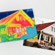 Save energy. house with thermal imaging camera — Stock Photo #65833069