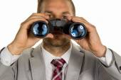 Manager with binoculars — Stock Photo