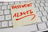 Note on computer keyboard password 123456 — Stock Photo