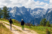 Hikers in mountains of austria — Stock Photo