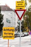 Traffic signs and warning signs — Stockfoto