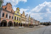 Czech republic, telc, town square — Stock Photo