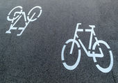 Marking a cycle route — Stock Photo