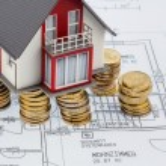 Residential house on blueprint — Stock Photo #69549987