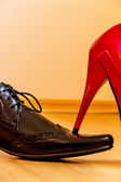 Ladys slipper occurs mens shoe — Stock Photo